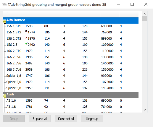 vcl grid grouping merging
