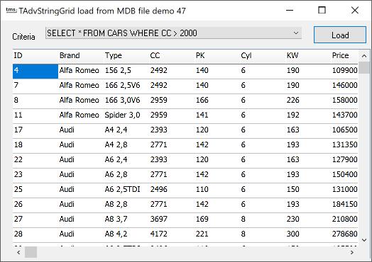 vcl grid MDB files