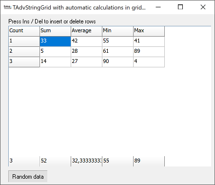 vcl grid floating footer