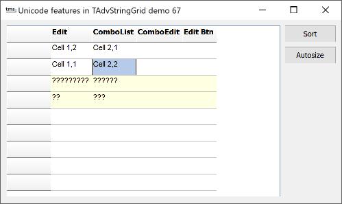 TMS Software | TAdvStringGrid Example