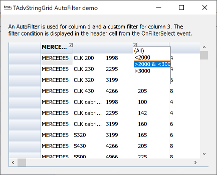 vcl grid filtering