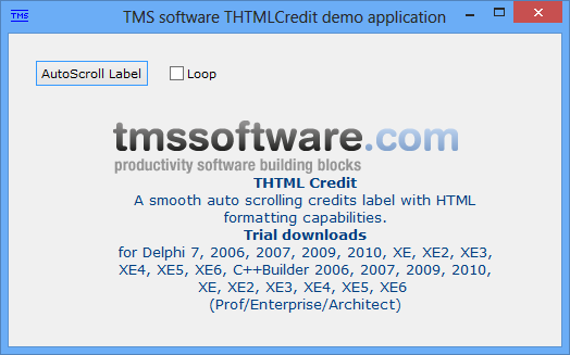 vcl html credit label