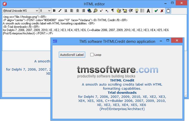 vcl html credits label
