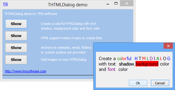 vcl html message dialog