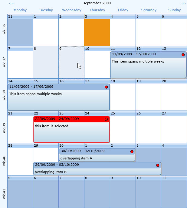 Calendar Planner Asp : Tms software silverlight wpf components for visual