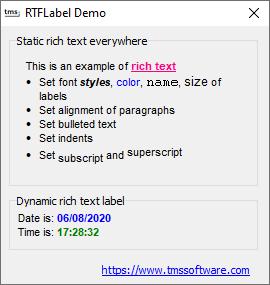 Delphi component VCL Label
