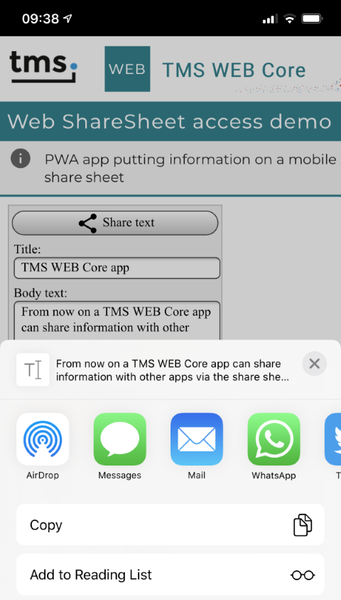 TMS WEB Core Delphi share sheet