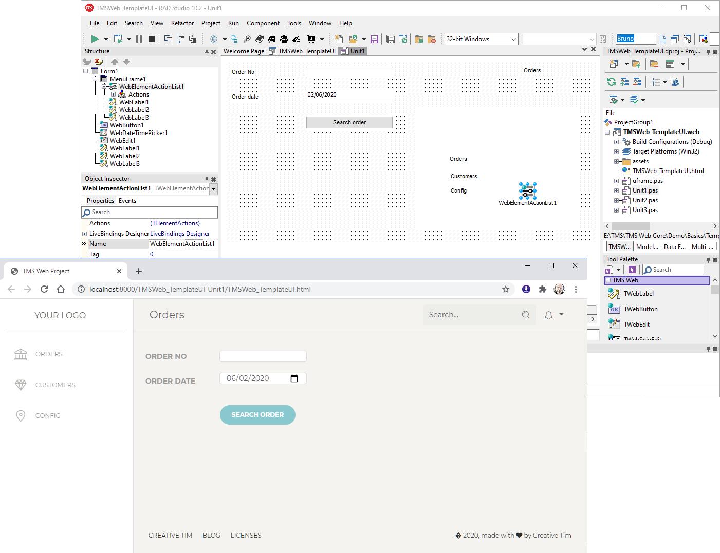 TMS WEB Core Delphi live preview