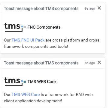 TMS WEB Core Delphi Bootstrap toast notifications